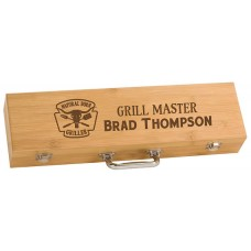 Personalized Bamboo Barbeque Set