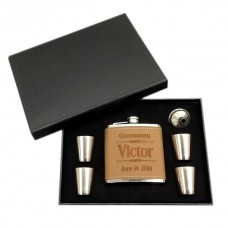 Personalized Stainless Steel 6 oz. Flask Sets Leather