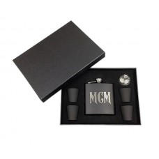 Personalized Stainless Steel Monogram 6 oz. Flask Set