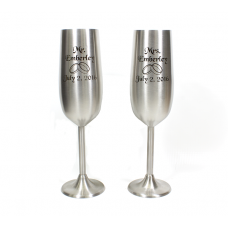 Custom Engraved Stainless Steel Champagne Toasting Flutes