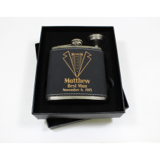 Custom Engraved Bridal Party Faux Leather Flask Gift Sets