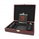 Custom Engraved Bridal Party Faux Leather Flask Gift Set With Rosewood Box