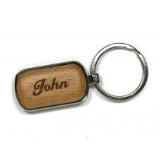 Rectangle Keychain With Engravable Wood Insert