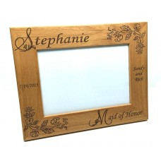 Alder Wood Bridesmaid/Maid of Honor Picture Frames Flower Style