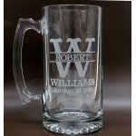 Engraved Glass 25oz Beer Mug