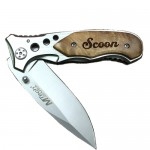 Burlwood Maple Engraved Pocket Knife